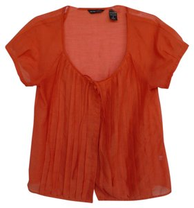 New York & Company Poly Sheer Summer Casual Top Orange