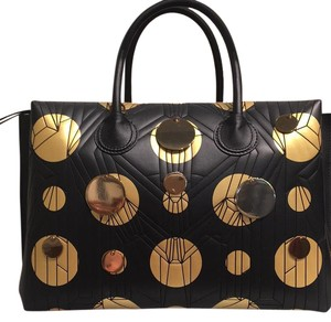 MCM Satchel in Black And Gold