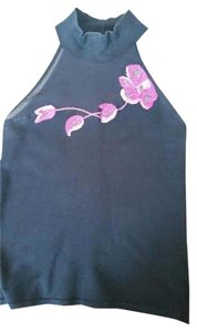 Cache Sleeveless Sheer Bodice Pink Roses Embellishment Front Top Black