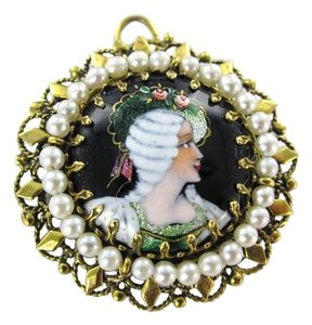 Francesca's 14KT YELLOW GOLD PENDANT FRENCH VICTORIAN SEED PEARL BROOCH ANTIQUE COLLECTIBLE