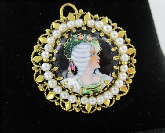 Francesca's 14KT YELLOW GOLD PENDANT FRENCH VICTORIAN SEED PEARL BROOCH ANTIQUE COLLECTIBLE Image 5