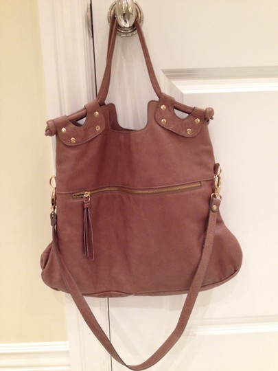 Pietro Alesandro Crossbody Fold Over Tax Leather Tote in Tan