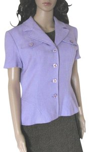 Kelly Graham Blazer Jacket Short Sleeve Shirt Lavender Buttoned M Usa 10 Cardigan Vintage Button Down Shirt Purple