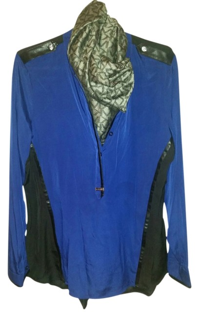 Preload https://item3.tradesy.com/images/michael-kors-blue-and-black-blouse-size-14-l-1644472-0-0.jpg?width=400&height=650