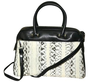 MILLY Watersnake Handbag White Snakeskin Satchel in Black with Black and Ivory Accent, Silver Hardware