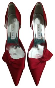 Caparros Wedding Bridesmaid Formal Red Red Satin Pumps