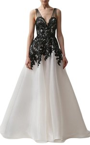 Naeem Khan Liquid Organza Lace Applique Dress