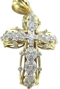 Other 10K YELLOW GOLD PENDANT WHITE STONES CROSS 19.1 GRAMS RELIGIOUS FAITH FINE JEWEL