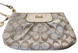 Coach Wristlet in Champagne/Tan/Gold