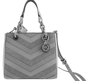 Michael Kors Cynthia Leather Satchel in Dove Grey/Silver