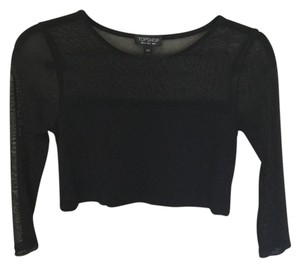 Topshop Crop Mesh Petite Top Black
