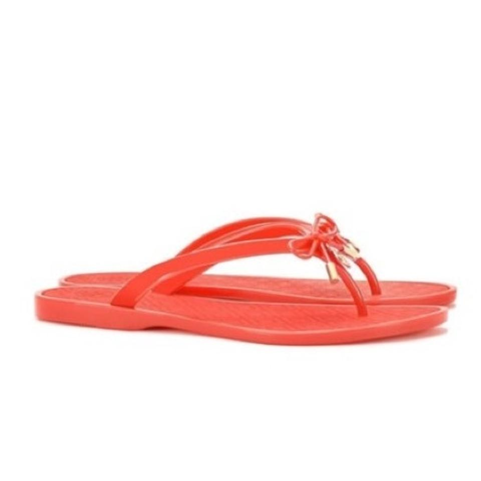 07f6b27cd15 Tory Burch Poppy Orange Jelly Bow Thong Sandals Size US 9 Regular (M ...