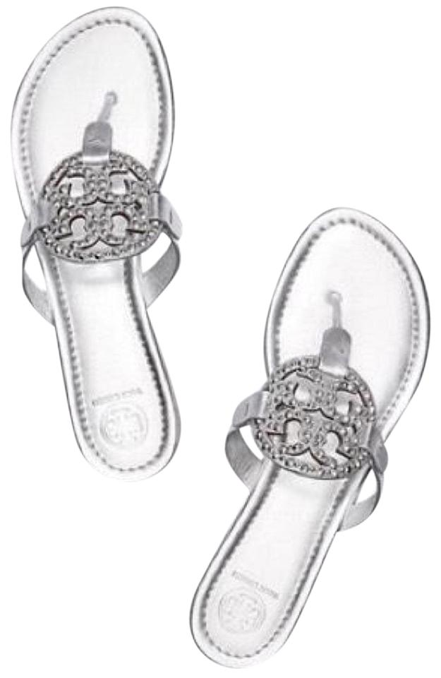 e406e3ffb Tory Burch Silver Embellished Sandals Size US 6.5 Regular (M