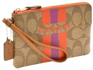 Coach Leather Wristlet in Khaki/Watermelon
