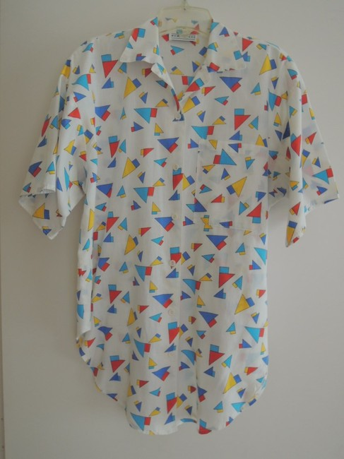 New Forces Button Down Shirt white with multi-color geometric print