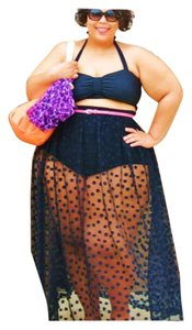 LAST ONE/SUMMER SALE New 2pc Black Top And Sheer Polka Dot Maxi Skirt