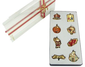 Tofa TOFA 8 Piece Holiday Charm and Pin Set - Enamel On Gold Tone Base Metal