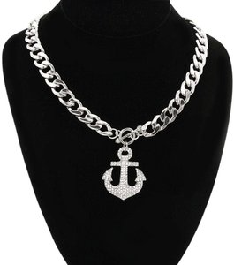 Other Rhinestone Crystal Pendant Anchor Silver/Rhodium Chain Necklace