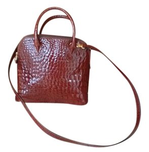 Embossed Leather Satchel in Brown