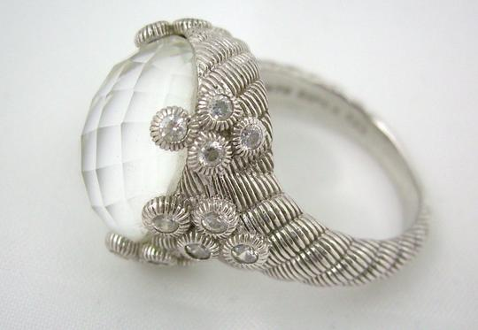 Judith Ripka Judith Ripka Sterling Silver Flora Diamonique and Oval Gemstone Doublet Ring - Size 5