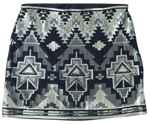Express Aztec Patterned Sequined Skirt
