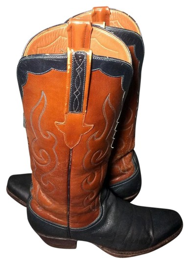 Preload https://img-static.tradesy.com/item/16446394/lucchese-brown-black-leather-cowboy-cowgirl-western-women-s-bootsbooties-size-us-7-regular-m-b-0-1-540-540.jpg