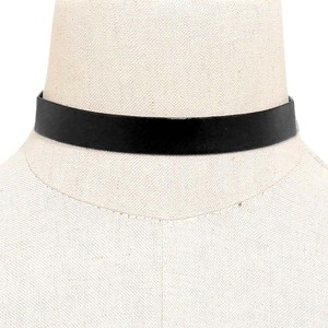 Modern Edge New Faux Leather Black Choker Necklace