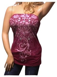 Fang Paisley Strapless Top Pink Silver