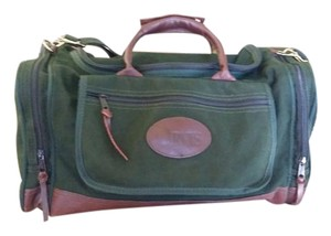 ORVIS Medium Duffle Canvas Hunter Green and Brown leather trim Travel Bag
