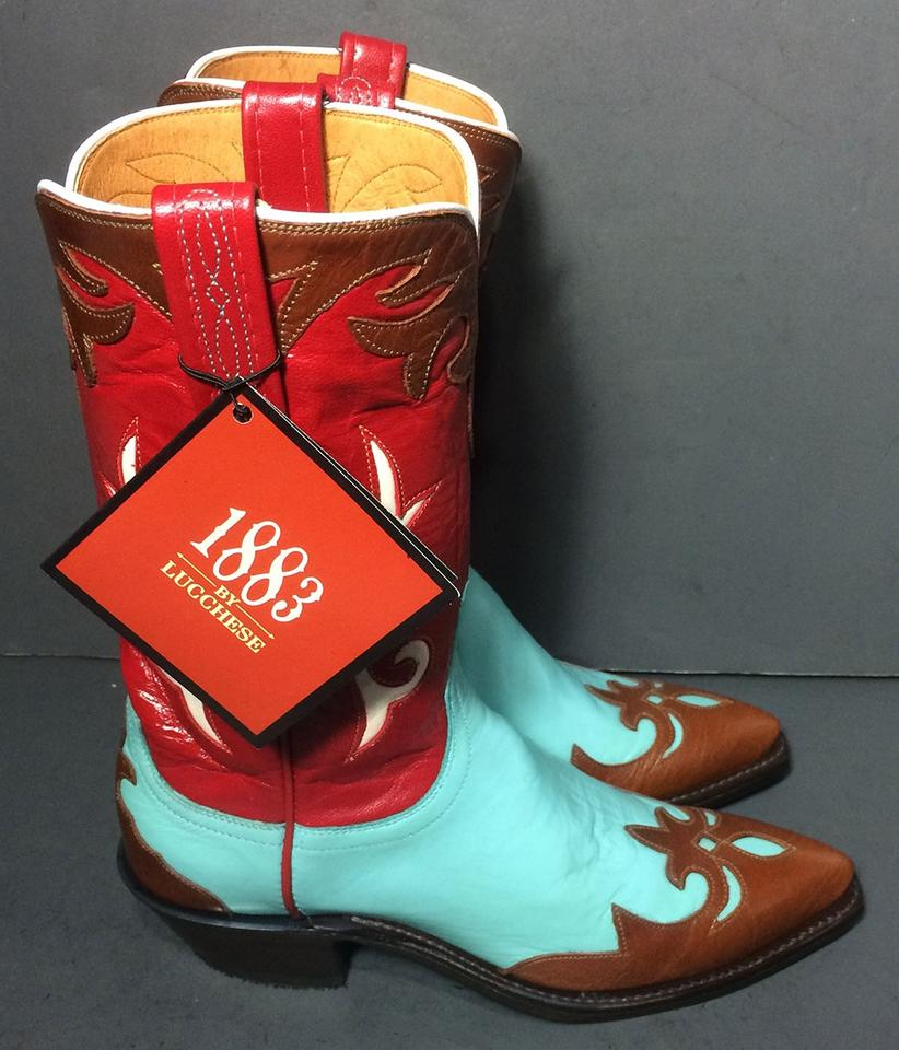 b9dd1b19c92 Lucchese Blue 1883 Red Brown Leather Western Cowboy Cowgirl Women's  Boots/Booties Size US 6 Regular (M, B) 51% off retail