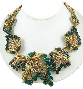 Oscar de la Renta Cut Out Jeweled Leaves Necklace