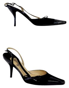 Chanel Black Patent Leather Cap Toe Sandals