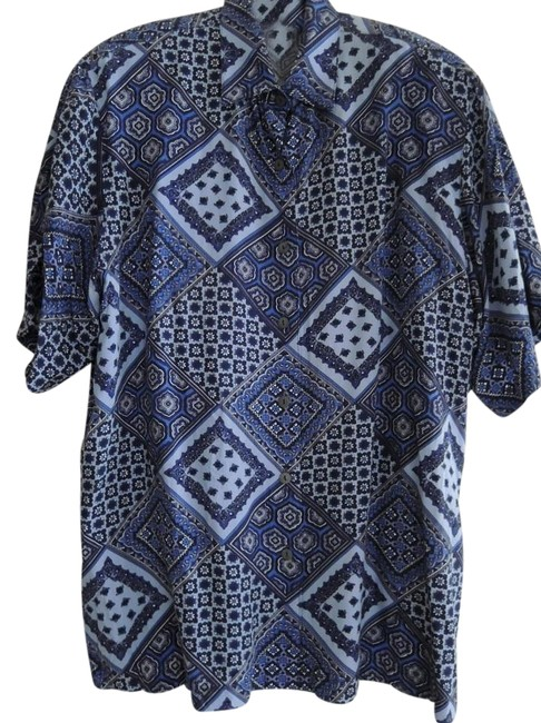 Preload https://img-static.tradesy.com/item/16447453/express-geometric-pattern-in-various-shades-of-blue-ladies-short-sleeve-shirt-camp-style-print-shirt-0-1-650-650.jpg