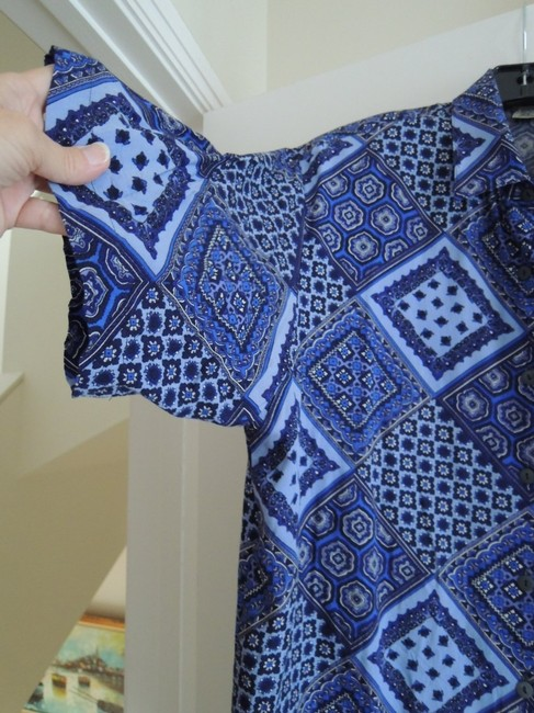 Express Button Down Shirt geometric pattern in various shades of blue