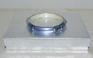 Alexis Bittar Alexis Bittar Lucite Liquid Stripe Hinged Bangle Lt. Navy Blue