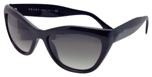 Prada New PRADA Sunglasses SPR 02Q 1AB-0A7 56-17 Black Cat Eye Frame w/ Grey Gradient Lenses