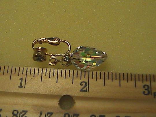Vintage Crystal Clear Dangle Clip on Earrings