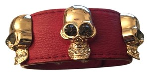 Studded Skull Red Leather Bracelet