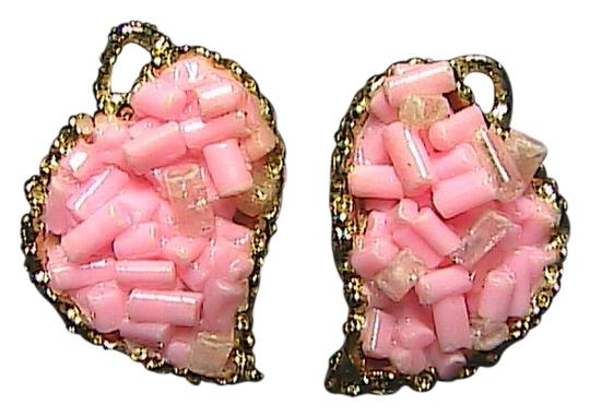 vintage Gold Tone Cluster Pink Coral Earrings
