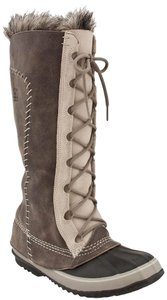 Sorel Snow Faux Fur Leather Gray Boots
