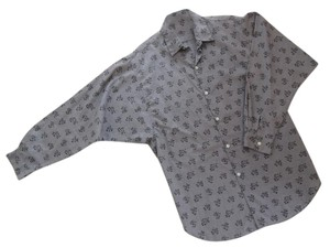 Simeon Too Button Down Shirt artsy black print on a medium gray background