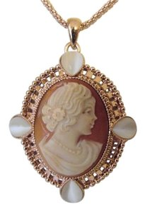 AMEDEO AMEDEO NYC Villa Pisani 35MM Cornelian & Simulated Cat's Eye Rosetone Cameo Pendant with 18