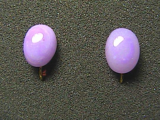 Vintage Les Bernard Lavender Screw Back Earrings