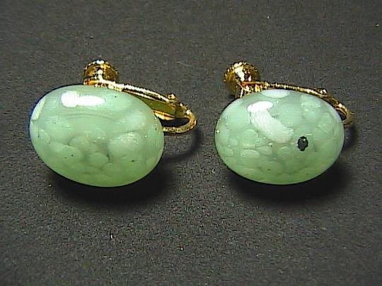 Vintage Les Bernard Green Stone Screw Back Earrings