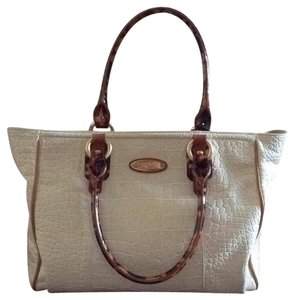 Brahmin Satchel in Cream Lizzard With Torrtice Shell Handles.