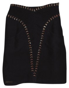 Lauren Moffatt New With Tag Semi Sheer Silk Studded Skirt black
