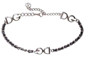 Dolce&Gabbana Black Leather & Silver Chain Belt