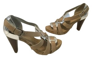 Cole Haan Strappy Stacked Heels Cork Platform Tan leather silver patent leather Sandals