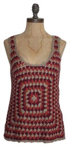 Anthropologie Crochet Knit Top MULTI COLOR