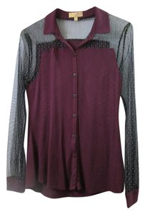 Vera Wang Princess Lace Sexy Lace Button Down Shirt purple